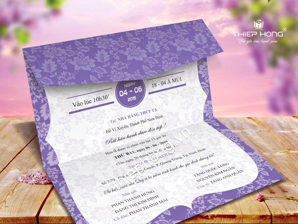 Thiệp cưới màu tím