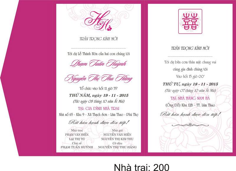 Nội dung thiệp cưới của Nhà Trai